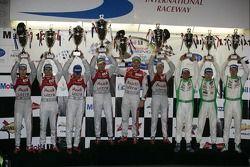 WEC LMP1 podium: first place Rinaldo Capello, Tom Kristensen, Allan McNish, second place Timo Bernha
