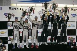 ALMS P1 podium: first place Chris Dyson, Guy Smith, Steven Kane, second place Lucas Luhr, Klaus Graf