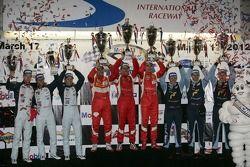 WEC LMGT podium: first place Andrea Bertolini, Olivier Beretta, Marco Cioci, second place Stefan Mücke, Adrian Fernandez, Darren Turner, third place Marc Lieb, Richard Lietz, Patrick Pilet