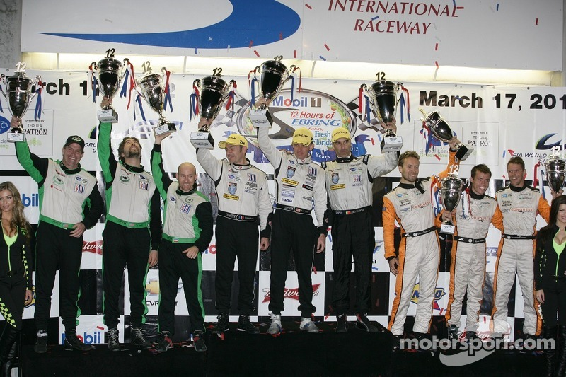 ALMS P2 podium: first place Scott Tucker, Christophe Bouchut, Joao Barbosa, second place Tim Pappas,