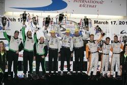 ALMS P2 podium: first place Scott Tucker, Christophe Bouchut, Joao Barbosa, second place Tim Pappas,