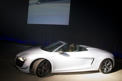 Cyndie Allemann drives the new Audi R8 GT Spyder on stage