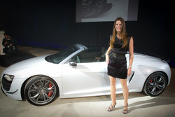 Cyndie Allemann poses with the new Audi R8 GT Spyder