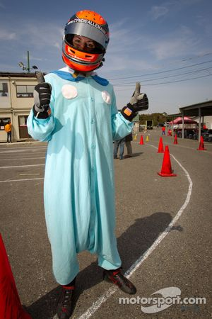 Go-kart charity event: Cyndie Allemann with her suit