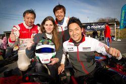 Go-kart charity event: Cyndie Allemann, Tomonobu Fujii and Michael Kim