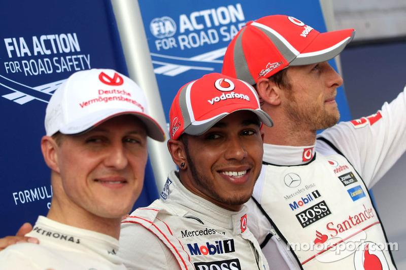 Ganador de la pole position Lewis Hamilton, McLaren Mercedes Mercedes y segundo puesto Jenson Button, McLaren Mercedes Mercedes