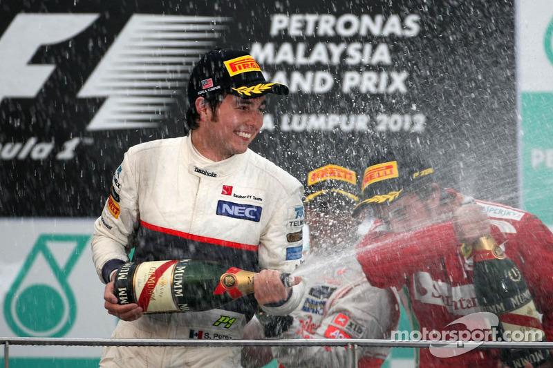 Sergio Pérez, Sauber F1 Team en su primer podio en F1 en Malasia 2012