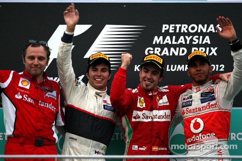 2012: 1. Fernando Alonso, 2. Sergio Perez, 3. Lewis Hamilton