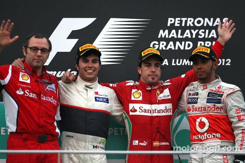 Stefano Domenicali, Scuderia Ferrari Sporting Director, Sergio Perez, Sauber F1 Team, Fernando Alons