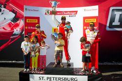 458TP podium: first place #2 Ferrari of Ft Lauderdale 458TP: Alex Popow, second place #24 Ferrari of Beverly Hills 458TP: Carlos Kauffmann, third place #8 Ferrari of Ft Lauderdale 458TP