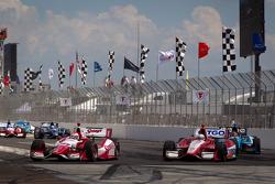 Justin Wilson, Dale Coyne Racing Honda and EJ Viso, KV Racing Technology Chevrolet