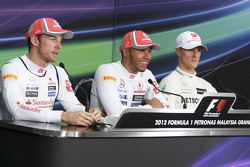 Michael Schumacher, Mercedes GP, Lewis Hamilton, Mclaren Mercedes and Jenson Button, Mclaren Mercede