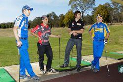 Will Davison, Michael Caruso, Mark Winterbottom en Taz Douglas in golf challenge, Launceston Golf Cl