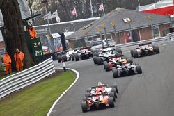 F3 cars are close over the hill