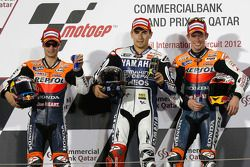 Podio: ganador de la carrera Jorge Lorenzo Yamaha Factory Racing, segundo lugar Dani Pedrosa, Repsol