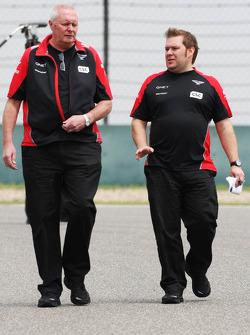 John Booth, Marussia F1 Team Team Principal, walks the circuit