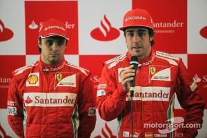 Felipe Massa, Scuderia Ferrari with team mate Fernando Alonso, Scuderia Ferrari at a Santander Press Call