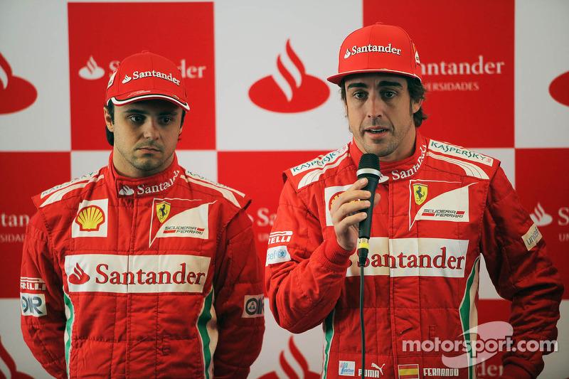 Felipe Massa, Scuderia Ferrari met ploegmaat Fernando Alonso, Scuderia Ferrari, Santander Press Call