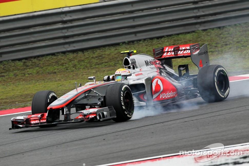 Lewis Hamilton, McLaren Mercedes locks up under braking