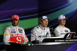Qualifying FIA Press Conference, Lewis Hamilton, McLaren, second; Nico Rosberg, Mercedes AMG F1, pole position; Michael Schumacher, Mercedes AMG F1, third