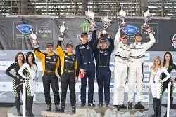 ALMS GT Challenge podium: winner Peter LeSaffre, Damien Faulkner, second place Cooper MacNeil, Leh Keen, third place Chris Cumming, Michael Valiante