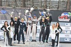 ALMS P1 podium: race winners Lucas Luhr, Klaus Graf, second place Chris Dyson, Guy Smith, third place Michael Marsal, Eric Lux
