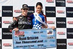 Pole-winner Ryan Briscoe, Team Penske Chevrolet, with Miss Indy Australia