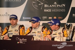 Bas Leinders, Maxime Martin and Markus Palttala celebrate their race win