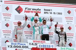 Race winner Kazuki Nakajima, second place Koudai Tsukagoshi and third place Joao Paulo de Oliveira