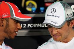 Lewis Hamilton, McLaren and Nico Rosberg, Mercedes AMG F1 in the FIA Press Conference