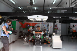Sahara Force India F1 Team mechanics work on the Sahara Force India F1 of Nico Hulkenberg, Sahara Force India F1 in the second practice session, when they didn't run