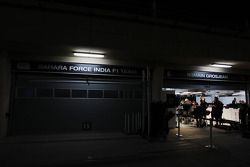 Sahara Force India F1 Team garages closed at night time