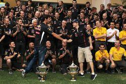 Race winner Sebastian Vettel, Red Bull Racing celebrates with Mark Webber, Red Bull Racing and the t