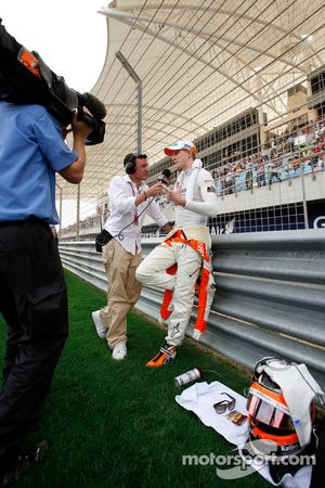 Speed TV's Will Buxton with Nico Hulkenberg, Sahara Force India Formula One Team