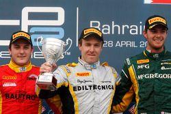 Race winner Davide Valsecchi, second place Fabio Leimer, third place Giedo Van der Garde