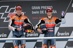 Podium: winner Casey Stoner, Repsol Honda Team, third place Dani Pedrosa, Repsol Honda Team