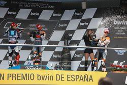 Podium : le vainqueur Casey Stoner, Repsol Honda Team, le deuxième Jorge Lorenzo, Yamaha Factory Team, le troisième Dani Pedrosa, Repsol Honda Team