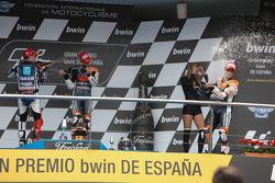 Podium: winner Casey Stoner, Repsol Honda Team, second place Jorge Lorenzo, Yamaha Factory Team, thi