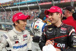 Third place Takuma Sato, Rahal Letterman Lanigan Honda, race winner Will Power, Verizon Team Penske
