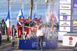 Winners Sébastien Loeb and Daniel Elena, second place Mikko Hirvonen and Jarmo Lehtinen, third place