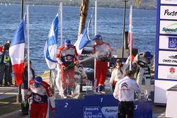 Winners Sébastien Loeb and Daniel Elena, second place Mikko Hirvonen and Jarmo Lehtinen, third place Mads Ostberg and Jonas Andersson
