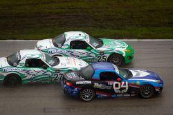 #27 Freedom Autosport Mazda MX-5: Steve Phillips, Tyler Cooke, #25 Freedom Autosport Mazda MX-5: Tom Long, Derek Whitis, #04 CJ Wilson Racing Mazda MX-5: Bruce Ledoux, Marc Miller