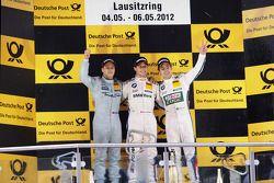 Podium, 2nd Gary Paffett, Team HWA AMG Mercedes, AMG Mercedes C-Coupe, 1st Bruno Spengler, BMW Team Schnitzer BMW M3 DTM, 3rd Augusto Farfus, BMW Team RBM BMW M3 DTM