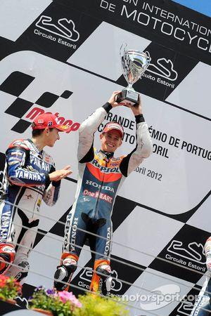 Podium: winner Casey Stoner, Repsol Honda Team, second place Jorge Lorenzo, Yamaha Factory Team