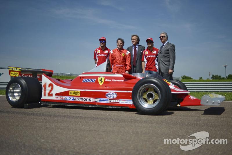 Fernando Alonso, Jacques Villeneuve, Luca di Montezemolo, Felipe Massa en Piero Ferrari met de 312 T