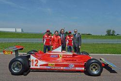 Fernando Alonso, Jacques Villeneuve, Luca di Montezemolo, Felipe Massa and Piero Ferrari with the 312 T4