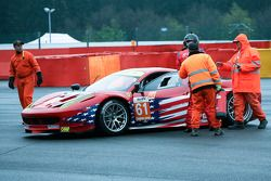 Shunt on the wall for #61 AF Corse-Waltrip Ferrari 458 Italia: Robert Kauffman, Rui Aguas, Brian Vic