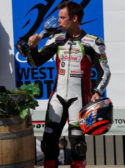 Jason DiSalvo toasting his win