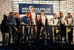 LMP2 podium: winners, Simon Dolan, Sam Hancock; second place John Martin, Robbie Kerr, Tor Graves; t