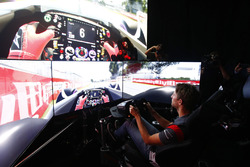 Romain Grosjean, Haas F1 Team drives a lap of the Circuit Gilles Villeneuve on a simulator